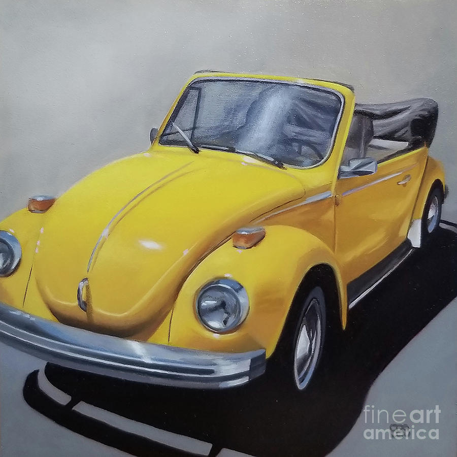 Vw Painting - 1972 Yellow Volkswagen by Elaine Brady Smith