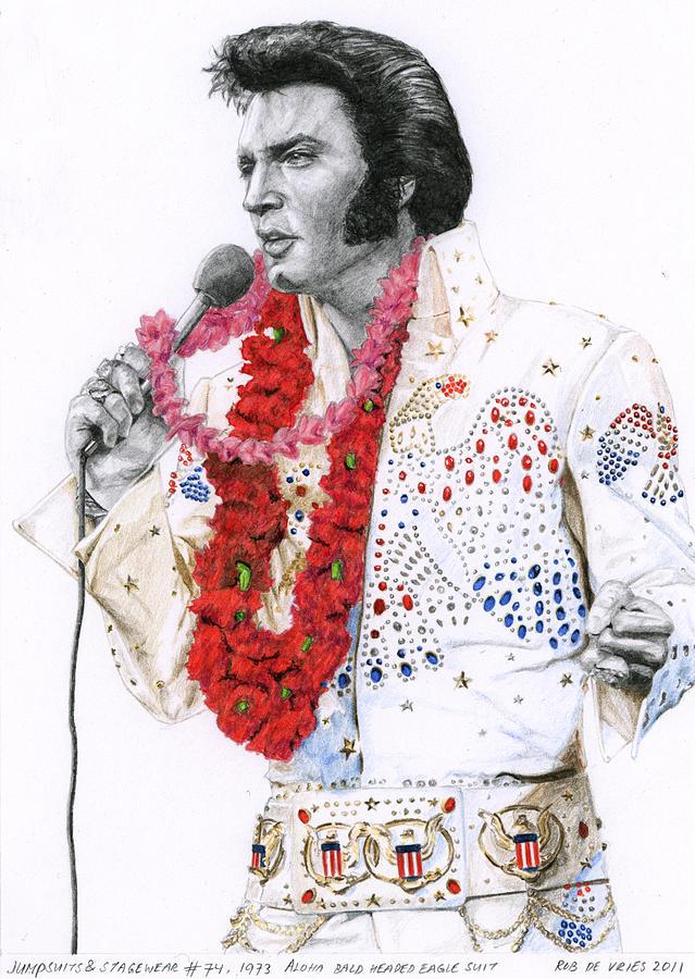 Elvis Drawing - 1973 Aloha Bald Headed Eagle Suit by Rob De Vries
