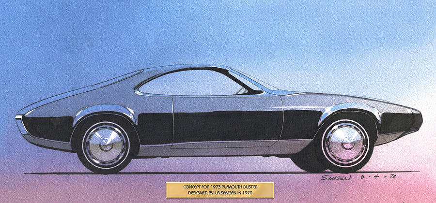 Car Concepts Drawing - 1973 Duster  Plymouth  Vintage Styling Design Concept Sketch by John Samsen
