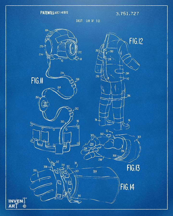 Space Suit Digital Art - 1973 Space Suit Elements Patent Artwork - Blueprint by Nikki Marie Smith
