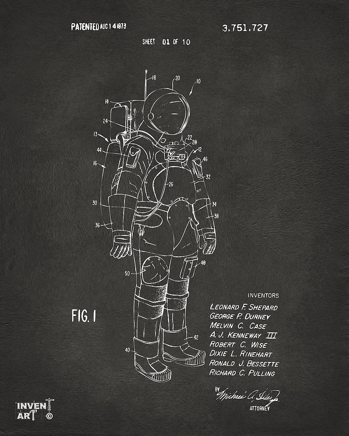 Space Suit Digital Art - 1973 Space Suit Patent Inventors Artwork - Gray by Nikki Marie Smith