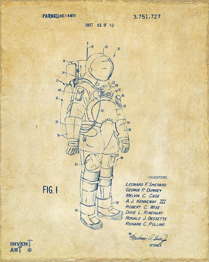 Space Suit Digital Art - 1973 Space Suit Patent Inventors Artwork - Vintage by Nikki Marie Smith