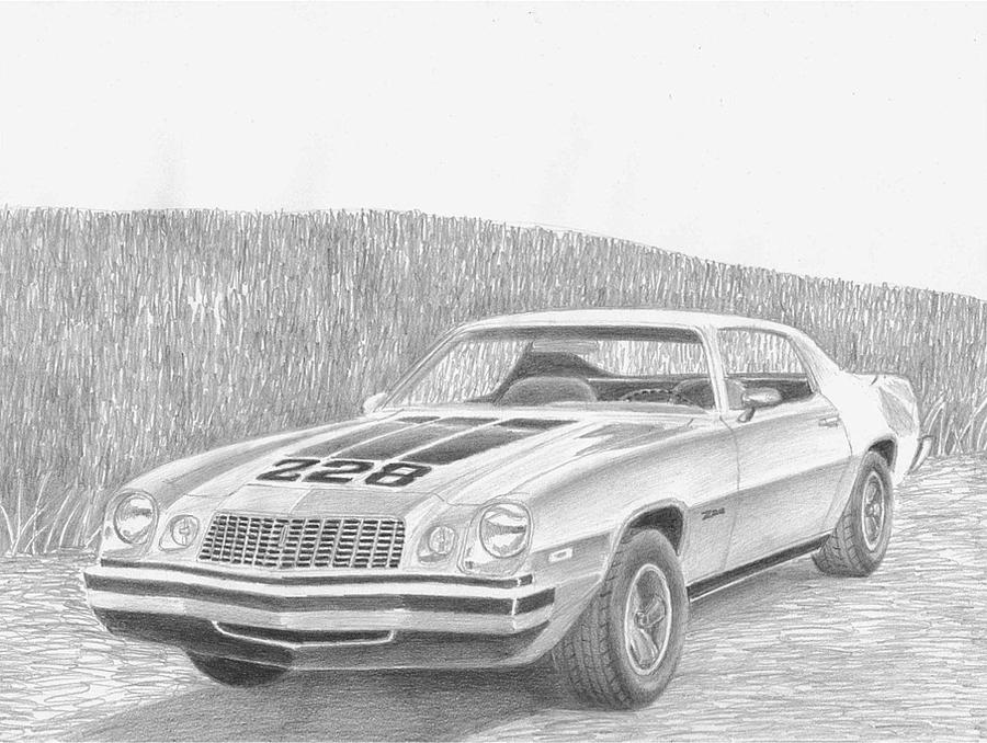 1974 Chevrolet Camaro Z28 Classic Car Art Print Drawing by Stephen Rooks
