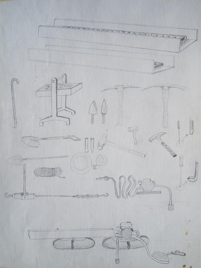 Tool Drawing - 1974 Gold Prospectors Tools by Ken Day