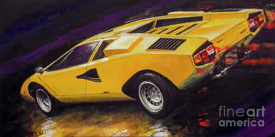 Oil On Canvas Painting - 1974 Lamborghini Countach Lp400 by Yuriy Shevchuk