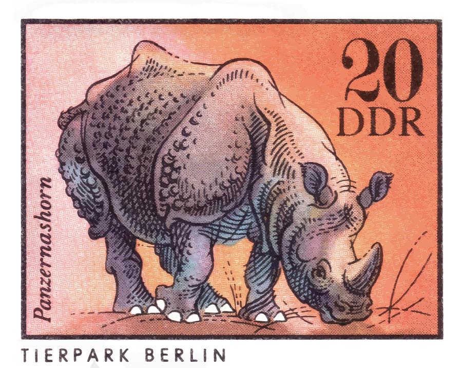 Rhinoceros Digital Art - 1975 East Germany Zoo Rhinoceros Postage Stamp by Retro Graphics