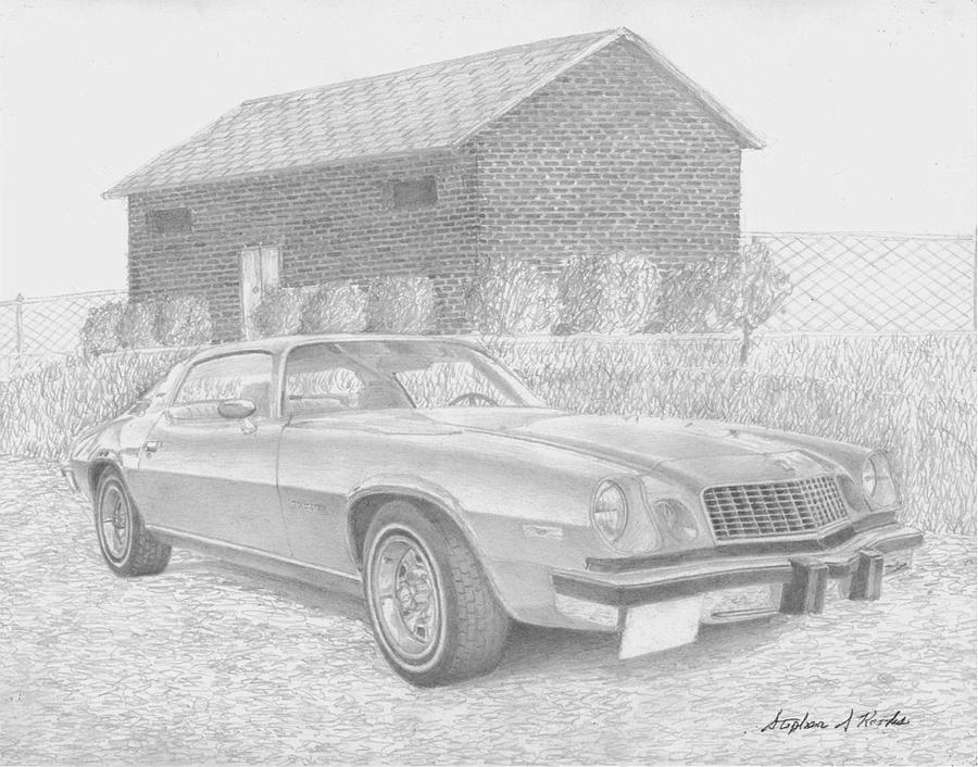 1976 Chevrolet Camaro Classic Car Art Print Drawing by Stephen Rooks