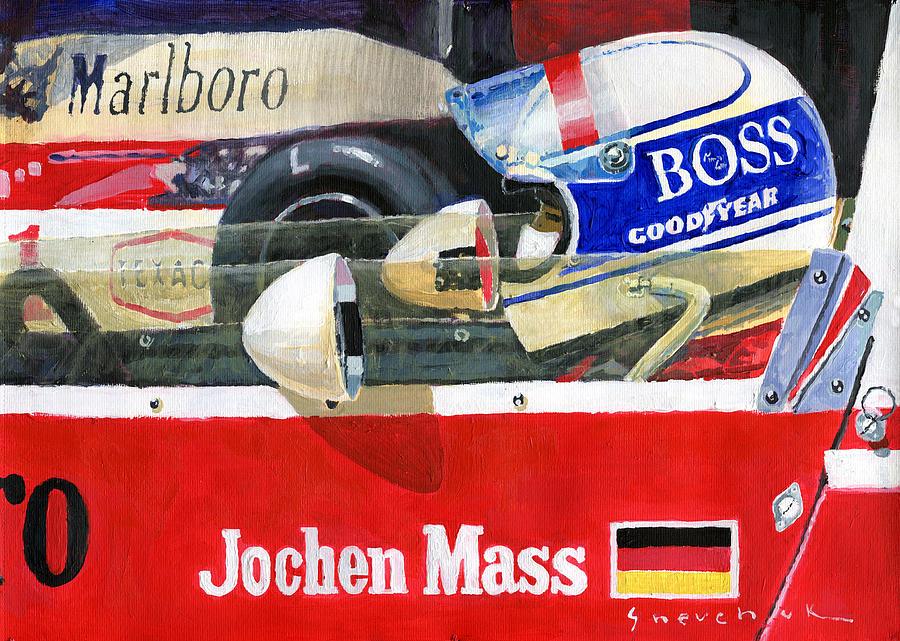Acrilic Painting - 1976 Jarama Marlboro F1 Team Mclaren Jochen Mass by Yuriy Shevchuk