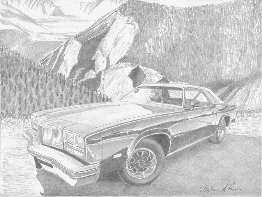 Automobile Drawings Drawing - 1976 Oldsmobile Cutlass Supreme Classic Car Art Print by Stephen Rooks