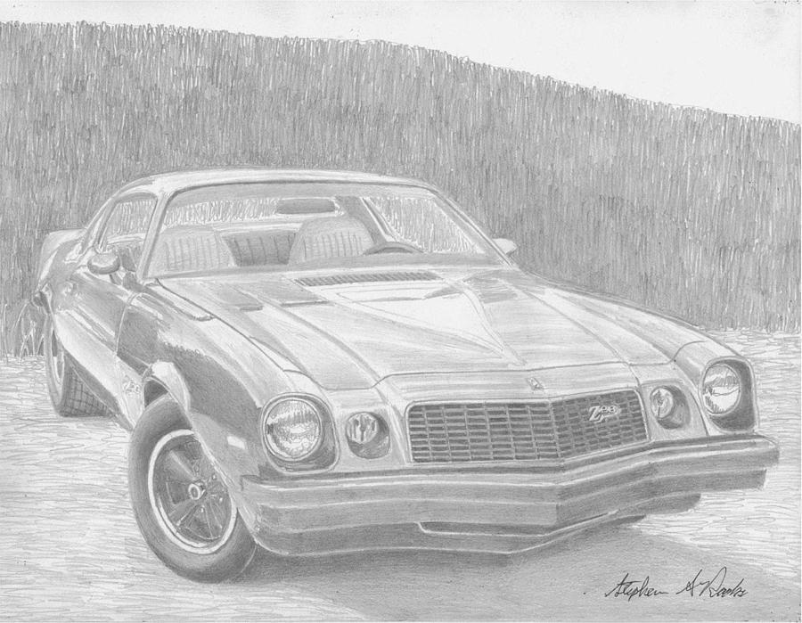 Chevrolet Camaro Classic Car Art Print Drawing By Stephen