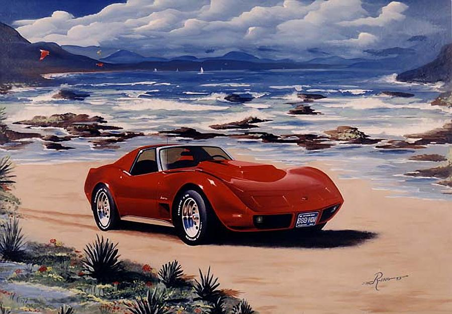 Gm Painting - 1978 Corvette by Peter Ring Sr