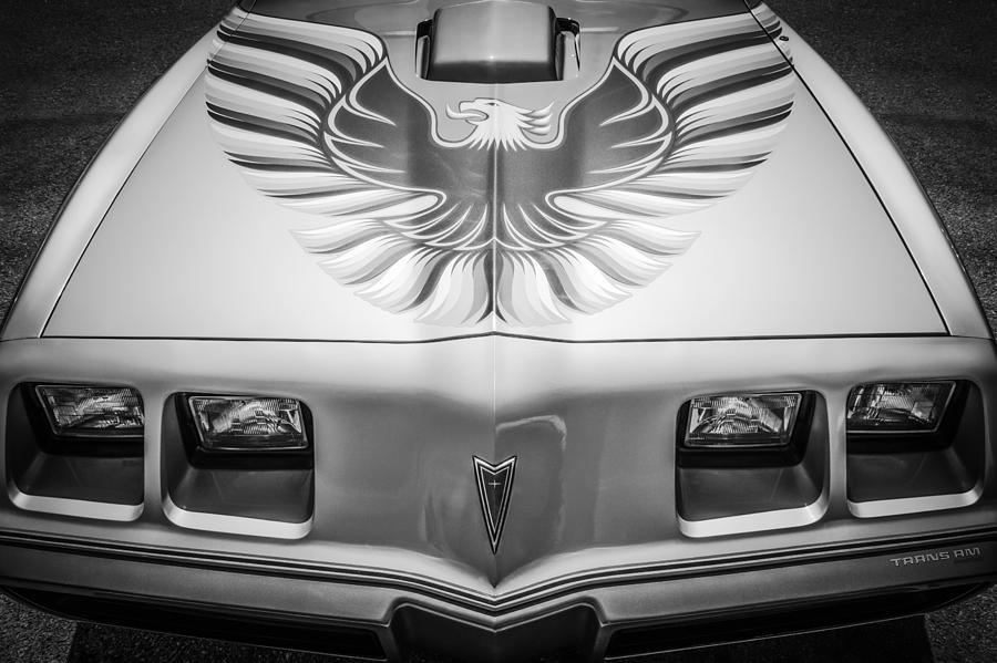 1979 Pontiac Firebird Photograph - 1979 Pontiac Trans Am Hood Firebird -0812bw by Jill Reger