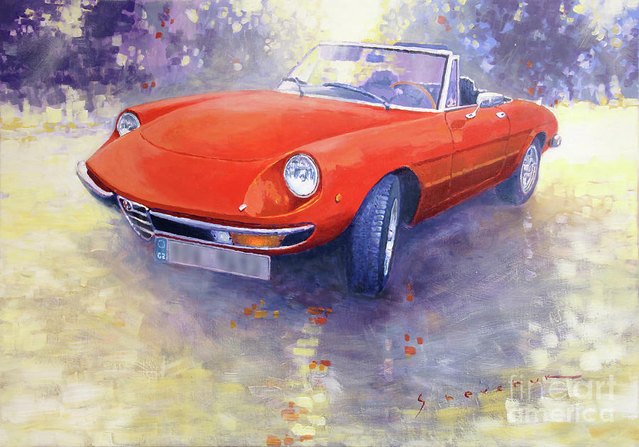 Alfa Romeo Spider Veloce Painting By Yuriy Shevchuk - Alfa romeo spider 1980 for sale