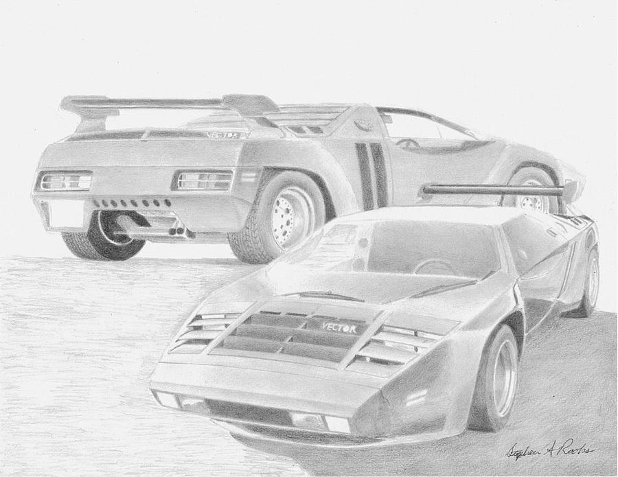 1980 Vector W2 Sports Car Art Print Drawing By Stephen Rooks