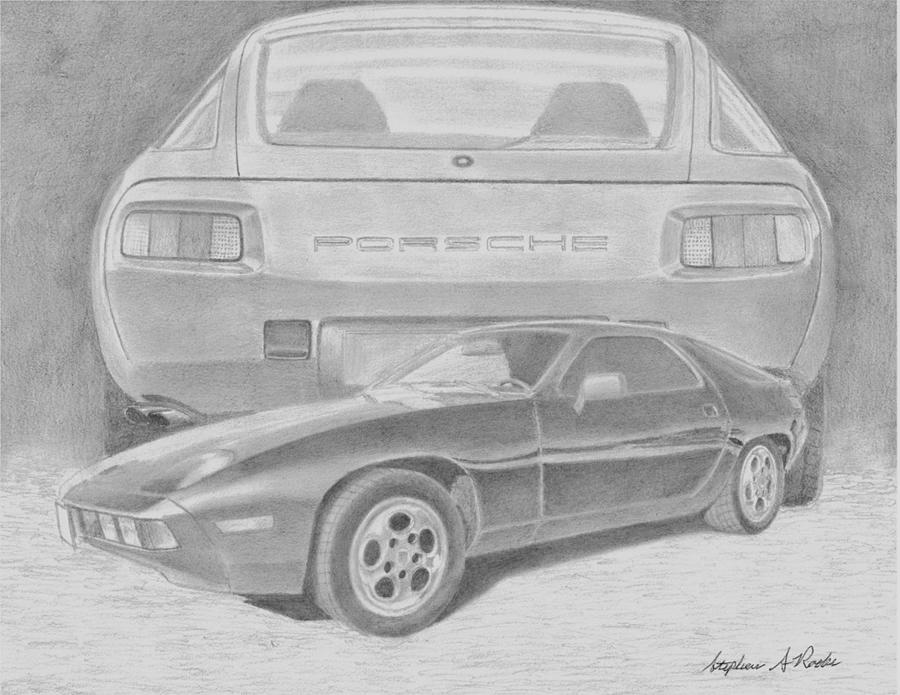 1982 Porsche 928 Sports Car Art Print Drawing By Stephen Rooks