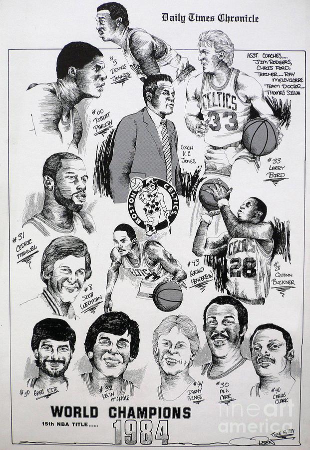 Nba Drawing - 1984 Boston Celtics Championship Newspaper Poster by Dave Olsen