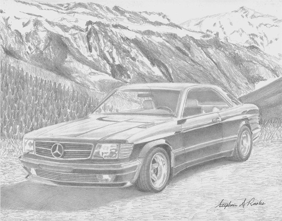 1984 Mercedes Benz 560 Sec Amg Classic Car Drawing Drawing by ...