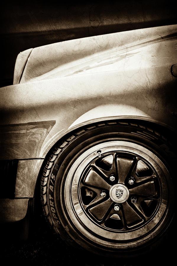 Car Photograph - 1984 Porsche 911 Carrera Wheel Emblem -2270s by Jill Reger