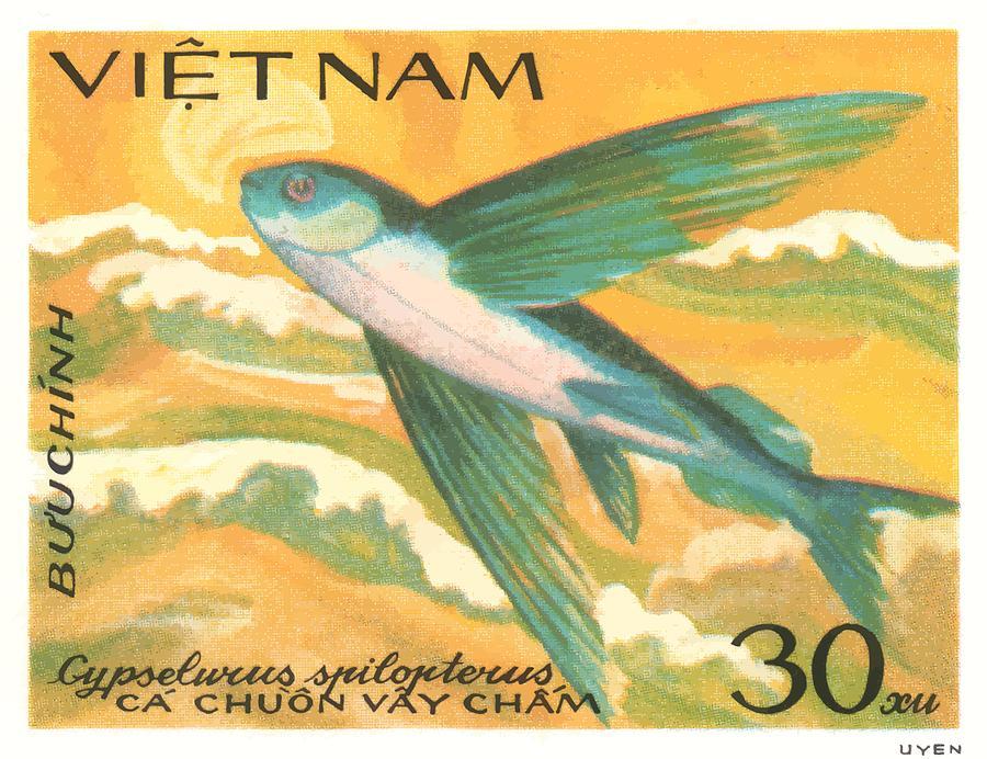 Postage Digital Art - 1984 Vietnam Flying Fish Postage Stamp by Retro Graphics