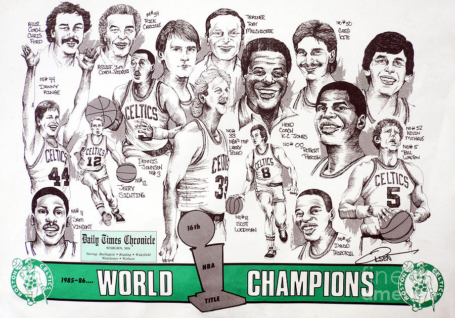 Nba Drawing - 1986 Boston Celtics Championship Newspaper Poster by Dave Olsen
