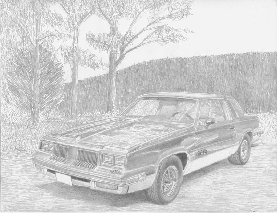 1986 Oldsmobile Cutlass 442 Classic Car Art Print Drawing by Stephen ...