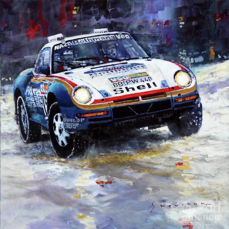 Automotive Painting - 1986 Porsche 959/50 #185 2nd Dakar Rally Raid Ickx, Brasseur by Yuriy Shevchuk