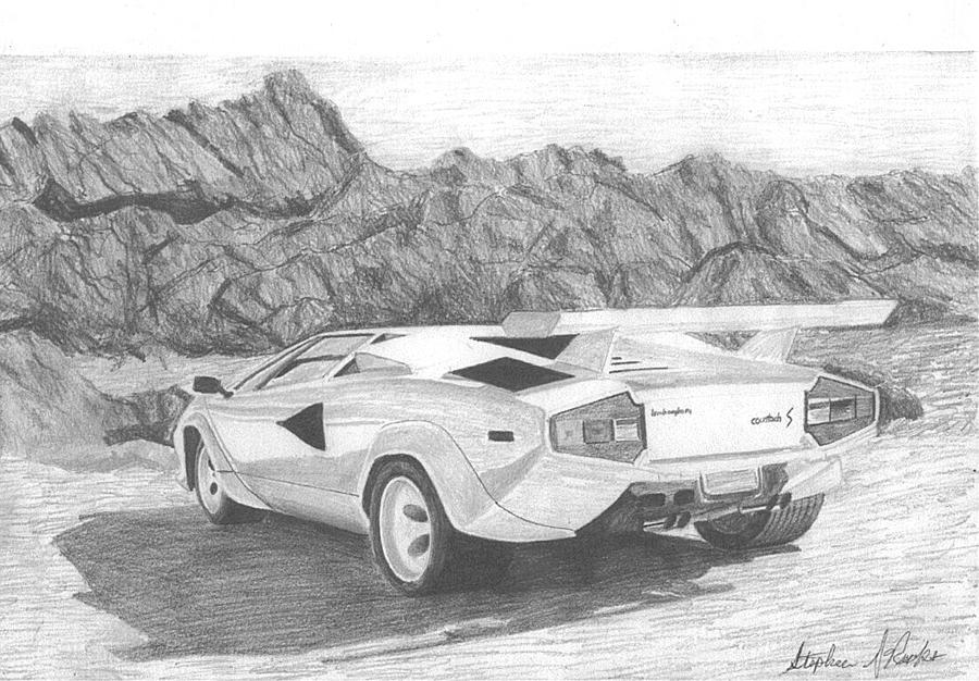 1988 Lamborghini Countach S Exotic Car Art Print Drawing By Stephen