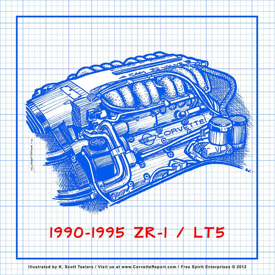 lt5 engine diagram 1990 1995 c4 zr 1 lt5 corvette engine blueprint drawing by k scott  1990 1995 c4 zr 1 lt5 corvette engine