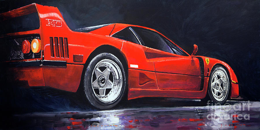 Paintings Painting - 1990 Ferrari F40  by Yuriy Shevchuk