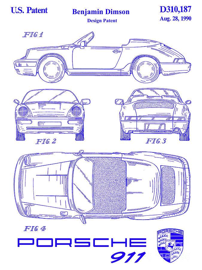 [DHAV_9290]  1990 Porsche 911 Patent Blueprint Photograph by Jon Neidert | Porsche Engine Diagram 1990 |  | Fine Art America