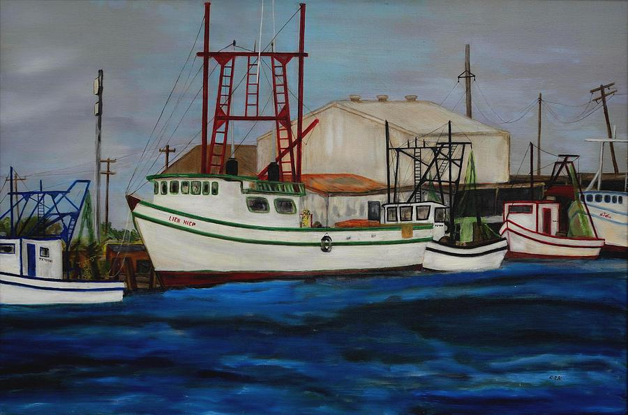 1990s Shrimp Boats Primary colors  by Deborah D Russo