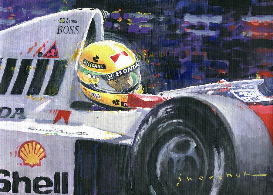 Acrilic Painting - 1990 Mclaren Honda Mp4 5b Ayrton Senna World Champion by Yuriy Shevchuk