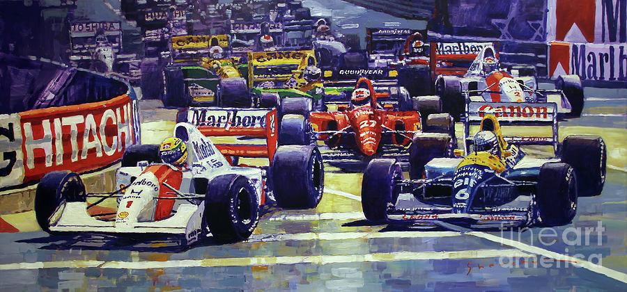 Automotive Painting - 1992 Monaco Gp Start  by Yuriy Shevchuk
