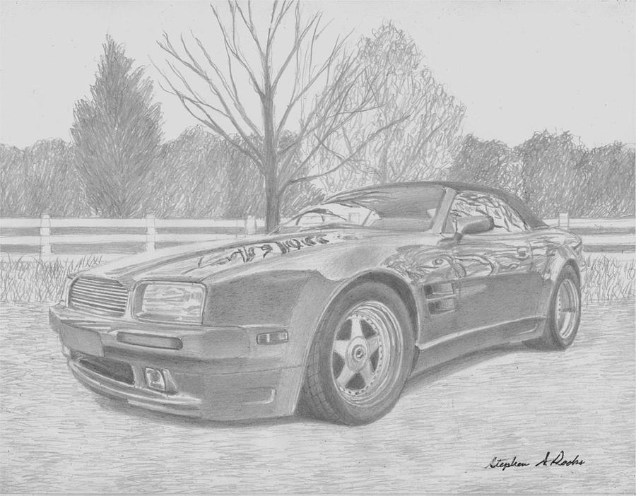 1993 Aston Martin Wide-body Volante Sports Car Art Print Drawing by ...