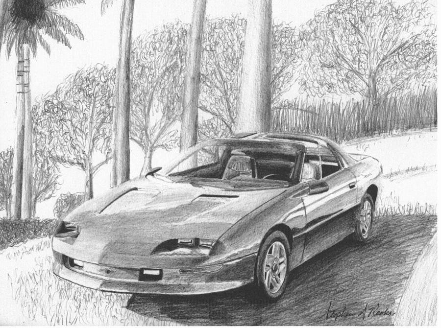 1995 Chevrolet Camaro Classic Car Art Print Drawing By Stephen
