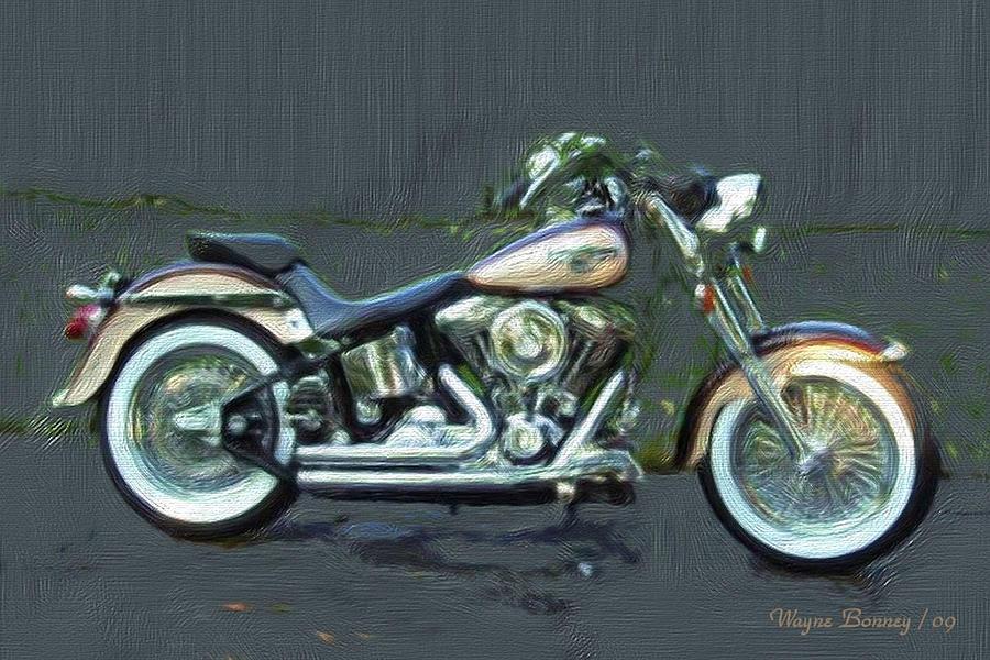 Harley Davidson Painting - 1998 Anniversary Edition Fatboy by Wayne Bonney