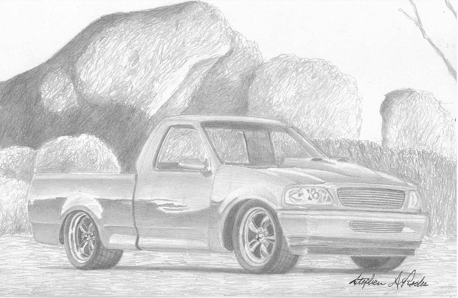 1998 Ford F 150 Pickup Truck Art Print Drawing By Stephen Rooks