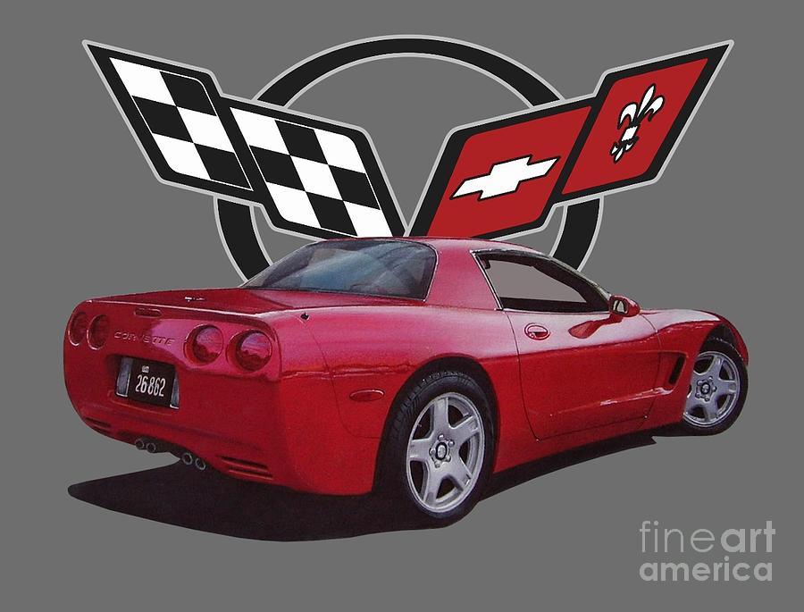 1999 Corvette With Logo Digital Art