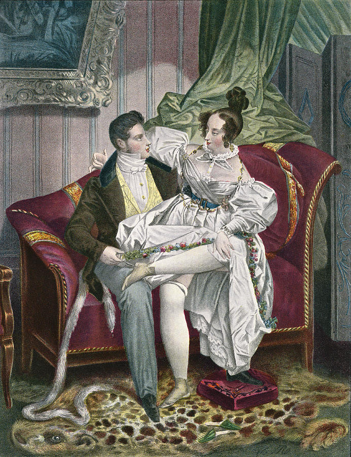 19th Century Drawing Room: 19th Century Lovers In A Drawing Room Drawing By Vintage