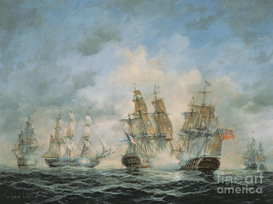 19th Century Naval Engagement In Home Waters Painting By