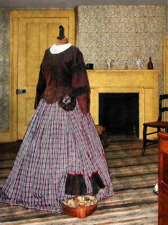 Fashion Photograph - 19th Century Plaid Dress by Susan Savad