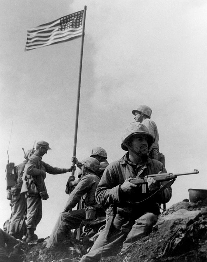 Iwo Jima Photograph - 1st Flag Raising On Iwo Jima  by War Is Hell Store