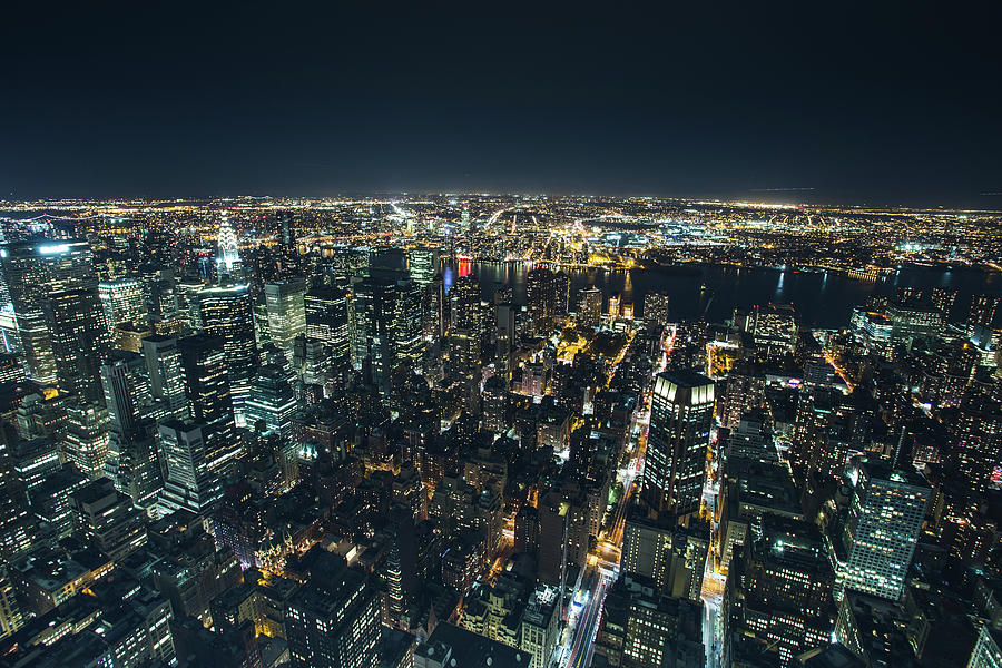 Night Aerial View Of New York City Photograph By Dan Comaniciu