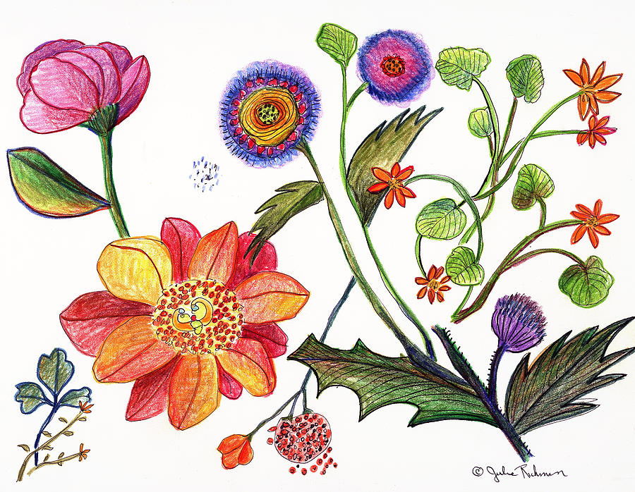 Botanical Flower-45 Odd Flowers Painting by Julie Richman