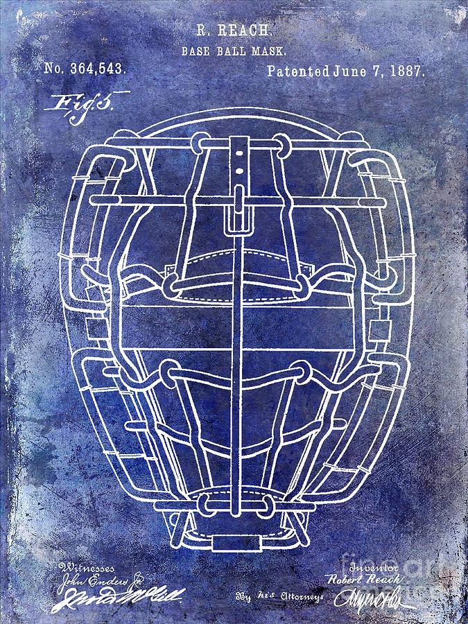 Baseball Mask Photograph - 1887 Baseball Mask Patent Blue by Jon Neidert