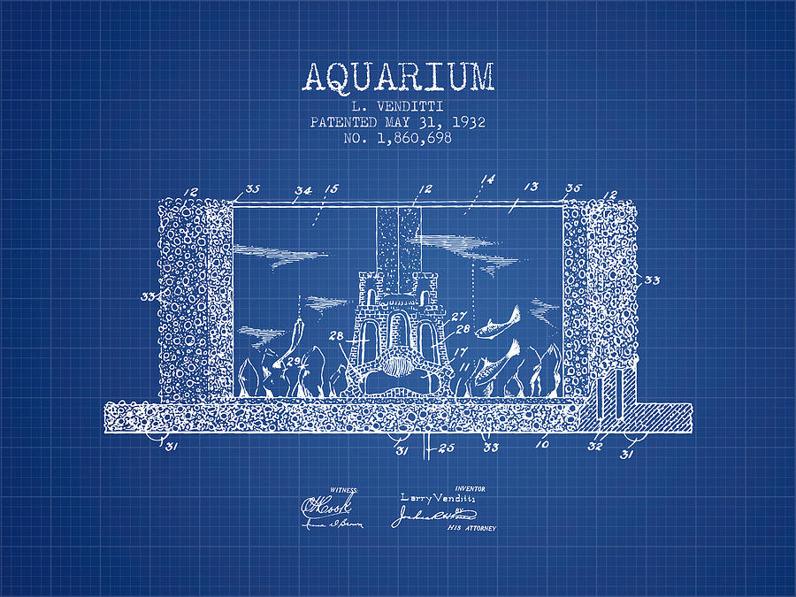 1932 aquarium patent blueprint digital art by aged pixel fish bowl digital art 1932 aquarium patent blueprint by aged pixel malvernweather Image collections