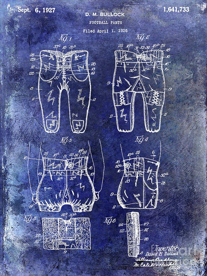 Football Photograph - 1927 Football Pants Patent by Jon Neidert