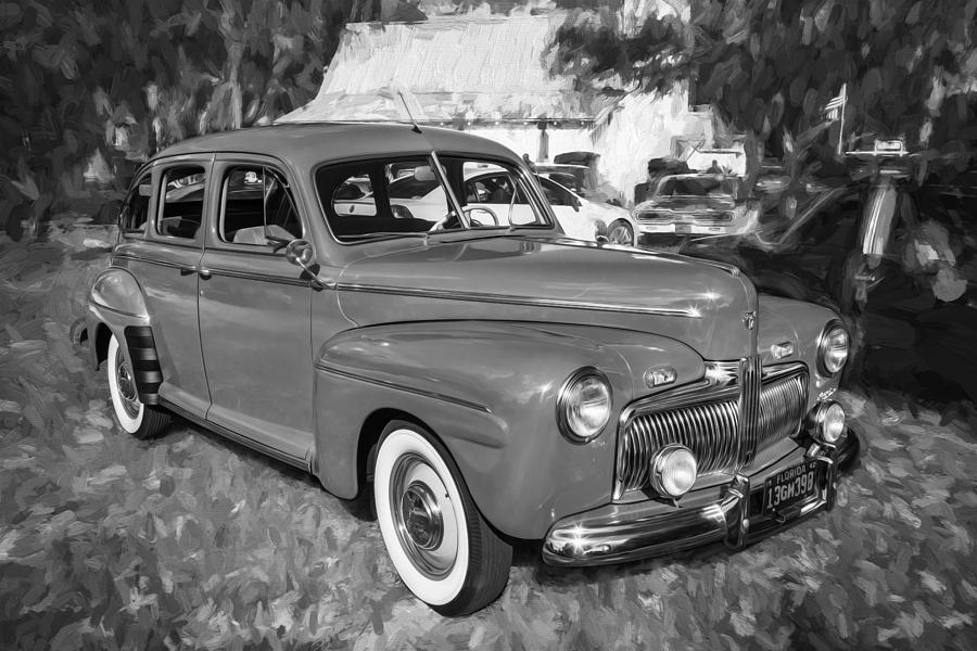Engine Photograph - 1942 Ford Super Deluxe Sedan Bw  by Rich Franco