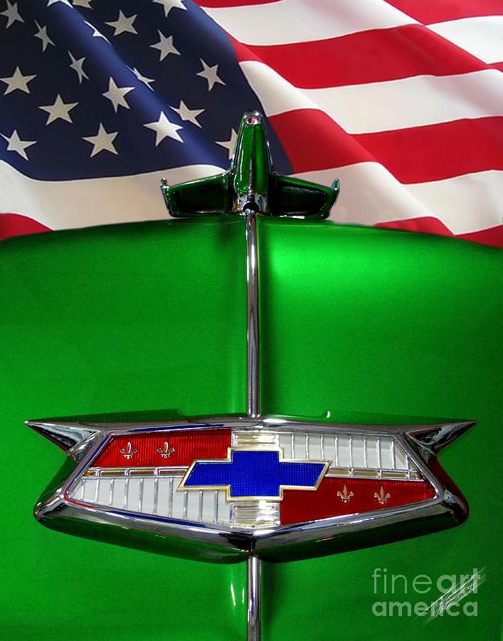 Hood Mascot Photograph - 1954 Chevrolet Hood Emblem by Peter Piatt