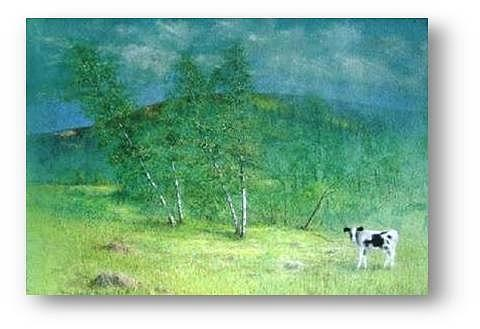 Cow Painting - 4X4 by Brian Higgins